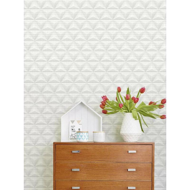 Papier peint à motif Origami triangle et pois blanc/gris - Collection UNPLUGGED - GRANDECO
