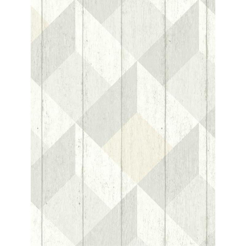 Papier peint à motif Cubes gris beige pastel - Collection UNPLUGGED - GRANDECO