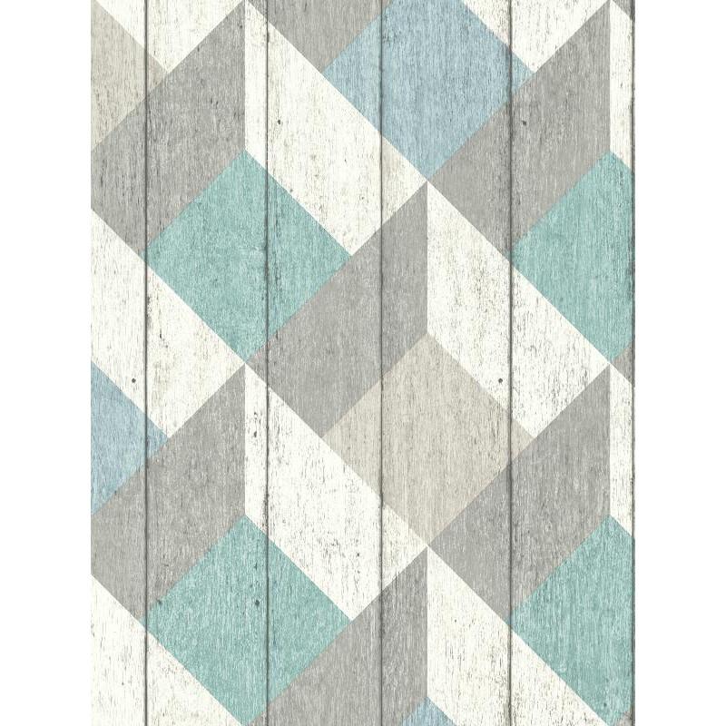 papier peint cubes un3202 bleu vert pastel grandeco. Black Bedroom Furniture Sets. Home Design Ideas