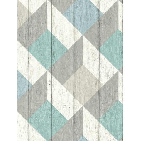 Papier peint à motif Cubes bleu vert pastel - GRANDECO