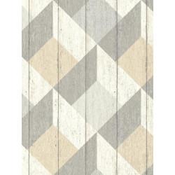 Papier peint à motif Cubes taupe beige pastel - GRANDECO