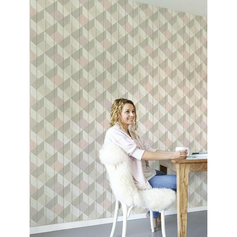Papier peint à motif Cubes rose taupe pastel - GRANDECO