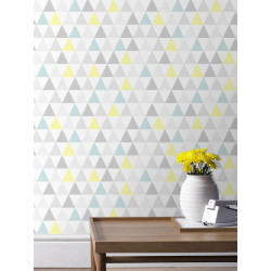 Papier peint Tarek triangles pastel bleu/jaune, scandinave. Graham & Brown