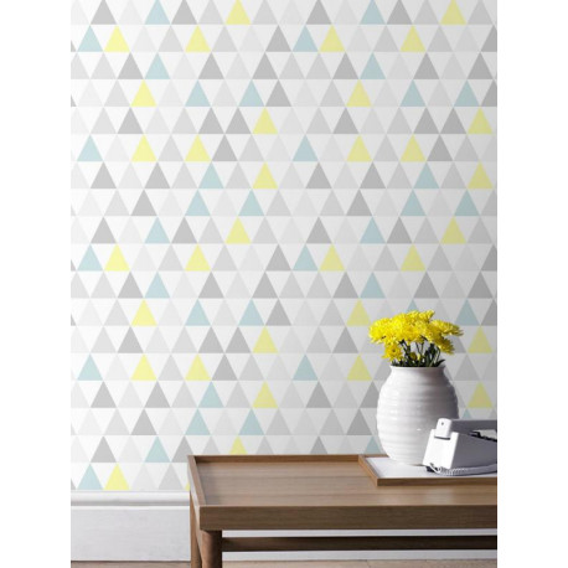 Papier peint Tarek triangles pastel bleu/jaune, scandinave. Graham & Brown