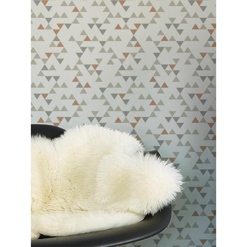Papier peint à motif triangle gris scandinave - GRANDECO