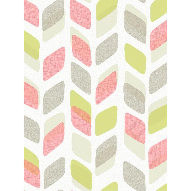Papier peint à motif Retro rose et vert - Collection UNPLUGGED - GRANDECO