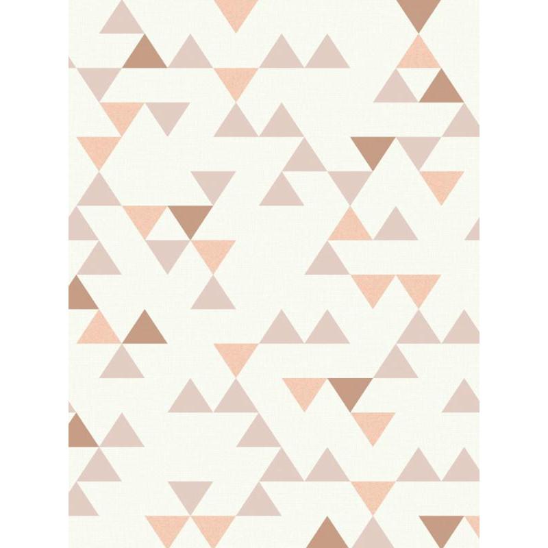 Papier peint à motif triangle vieux rose scandinave - GRANDECO