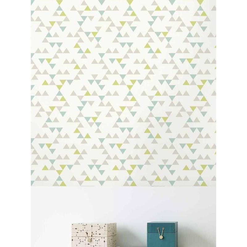 Papier Peint A Motif Triangle Bleu Vert Scandinave Grandeco