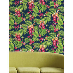 Papier peint Tropical Fever Multico, vert et rose. Graham & Brown
