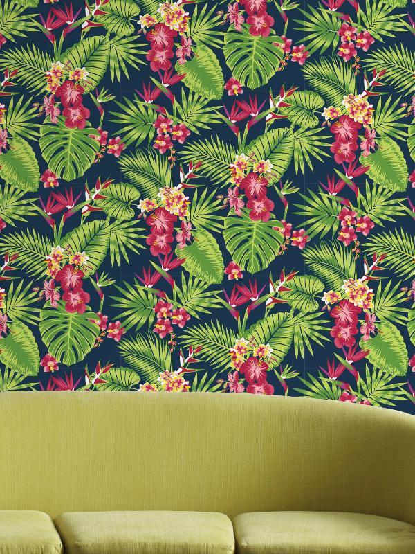 Papier Peint Tropical Fever Multico Vert Et Rose Graham Brown