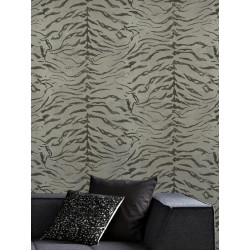 Papier peint Tigre taupe, animal. Graham & Brown