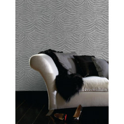 Papier peint Zebra blanc/gris, animal. Graham & Brown