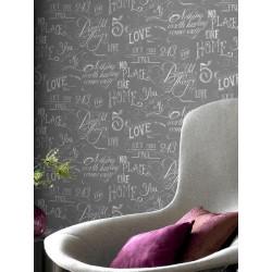 Papier peint Words, écriture sur fond gris. Graham & Brown
