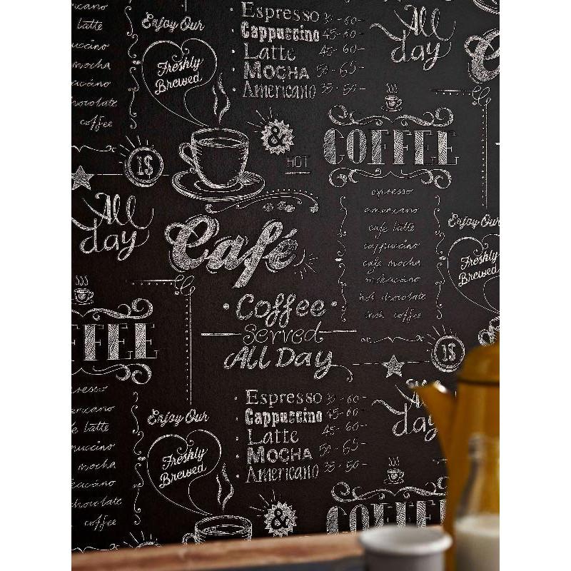 papier peint coffee shop noir et blanc graham brown. Black Bedroom Furniture Sets. Home Design Ideas