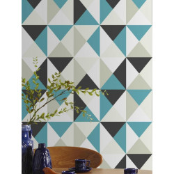 Papier peint intissé Polygone triangles bleu / gris - Graham & Brown