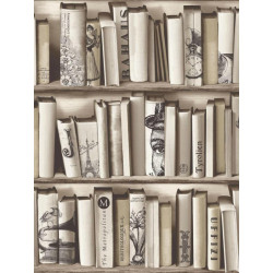 Papier peint trompe l'œil bibliothèque Brooklyn beige - Muriva - UGEPA