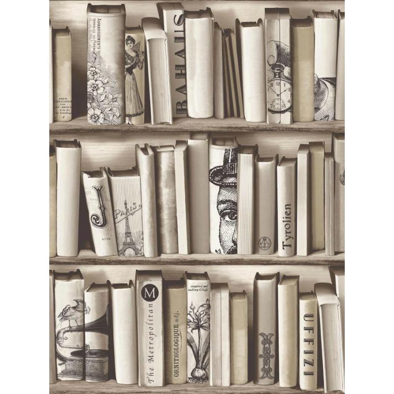 Papier peint trompe l'œil bibliothèque beige -UGEPA