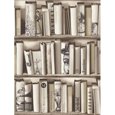 Papier peint Bibliothèque Brooklyn beige - MURIVA - Ugepa - E822-08