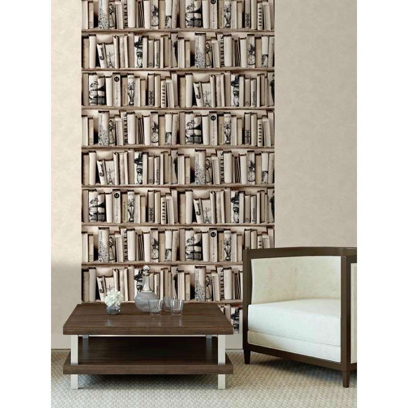 papier peint vinyle trompe l il biblioth que beige ugepa. Black Bedroom Furniture Sets. Home Design Ideas