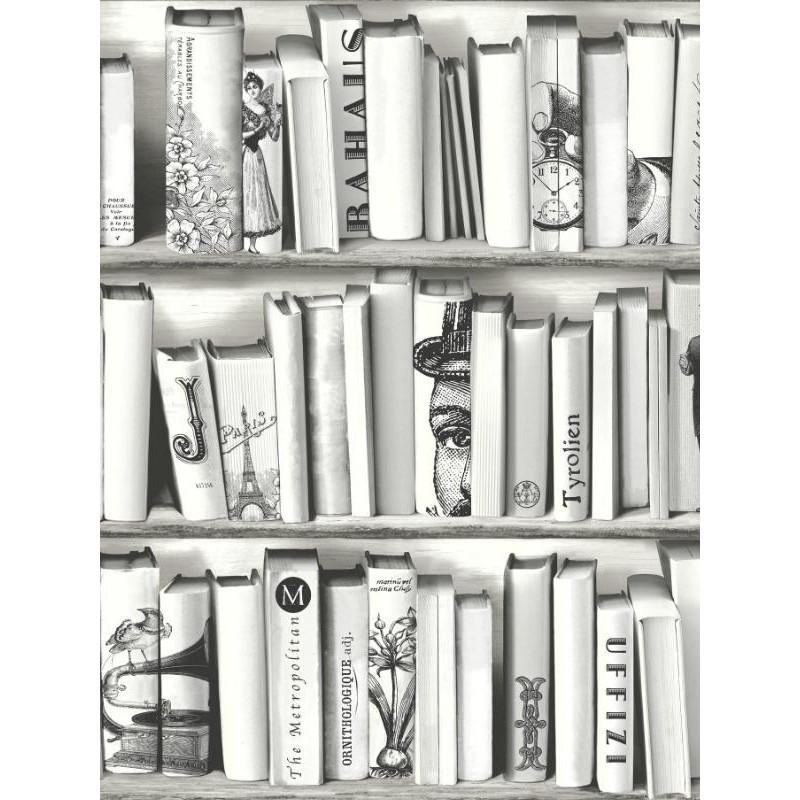 Papier peint Bibliothèque noir et blanc - FREE STYLE - Ugepa - E822-09