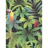 Papier peint motif tropical et perroquets- Fond noir - UGEPA