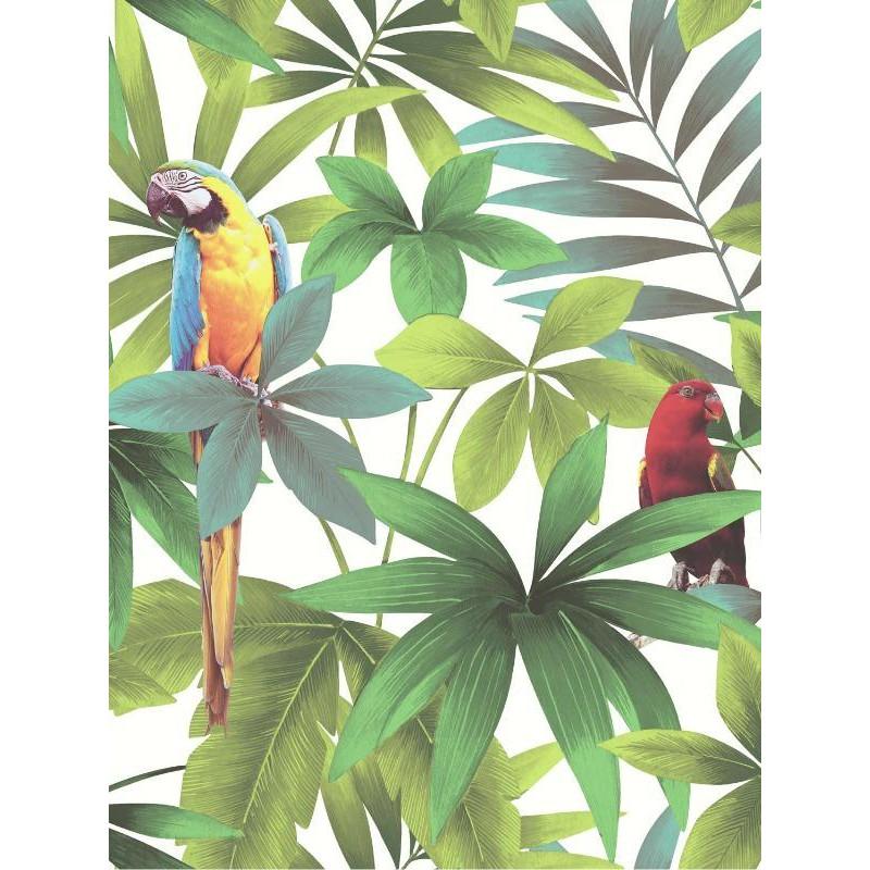 Papier Peint Motif Tropical Et Perroquets Fond Blanc Ugepa