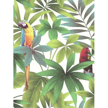 Papier peint Tropical et Perroquets blanc - Ugepa - J929-14