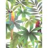 Papier peint motif tropical et perroquets- Fond blanc - UGEPA