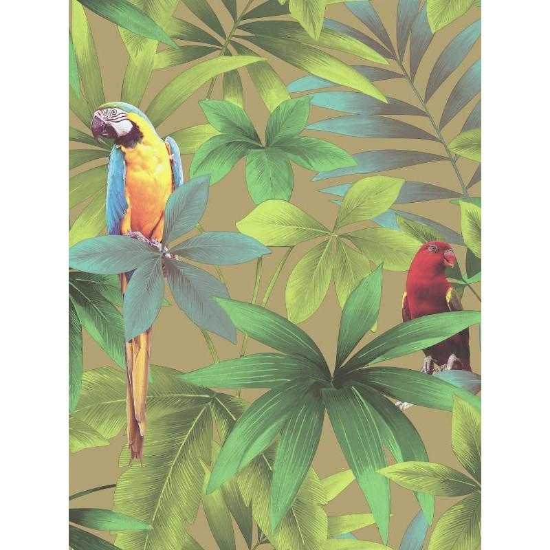Papier peint Tropical et Perroquets vert - Ugepa - J929-02