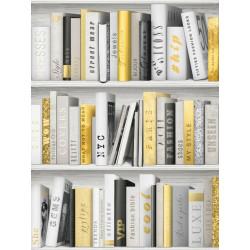 Papier peint trompe l'oeil bibliothèque jaune moderne -UGEPA