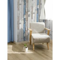 Papier peint patchwork de planches bleues - bleu -UGEPA