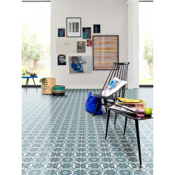 Revêtement PVC - Largeur 3m - EMOTION carreau ciment bleu - Beauflor Retro Chic Lisbon 709M
