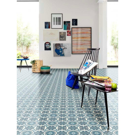 Revêtement PVC - Largeur 3m - EMOTIONS carreau ciment bleu - Beauflor Retro Chic Lisbon 709M