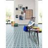 Revêtement PVC Retro chic carrelage ciment bleu - Beauflor Lisbon 709M