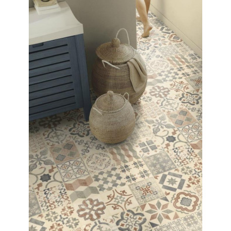 Sol PVC - Almeria Natural carrelage retro beige - Iconik Resist TARKETT - rouleau 4M