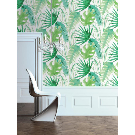 Papier peint tropical Elle Junger Fever vert. Graham & Brown