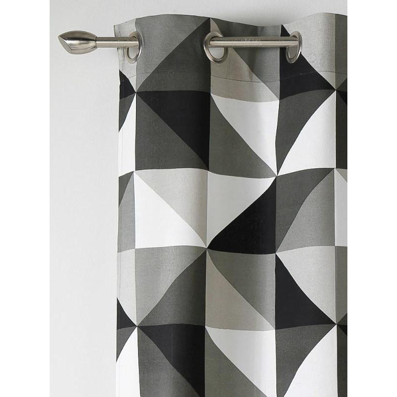 Rideau prêt-à-poser à motif triangles noir et blanc - Art of Life