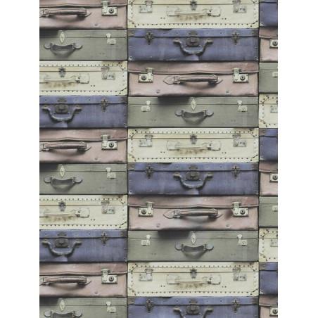 Papier peint Valises vintage retro. Trompe-l'oeil - Graham & Brown