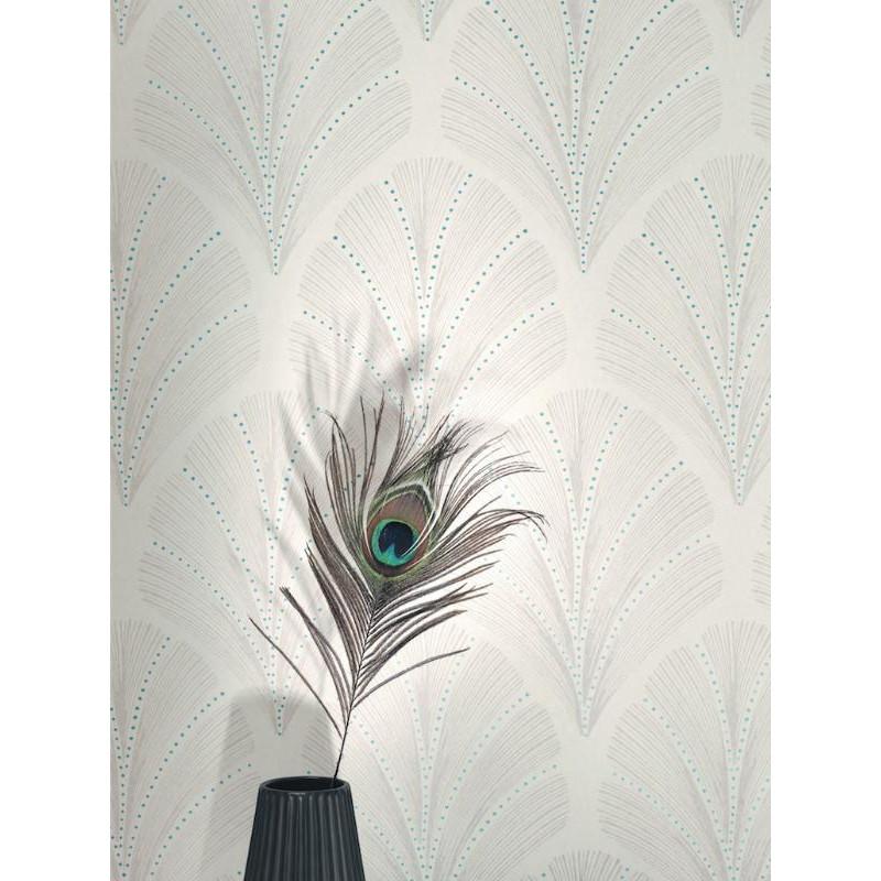 Papier peint Big Plumes beige bleu - LOUISE - Casadeco - LOU28911222