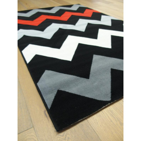 "Tapis velours ras ""ZigZag rouge gris noir"" - Flash BALTA 120x170"