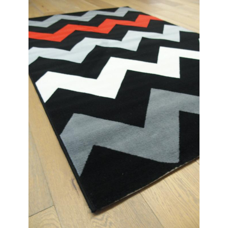 tapis gris zigzag rouge et noir flash. Black Bedroom Furniture Sets. Home Design Ideas