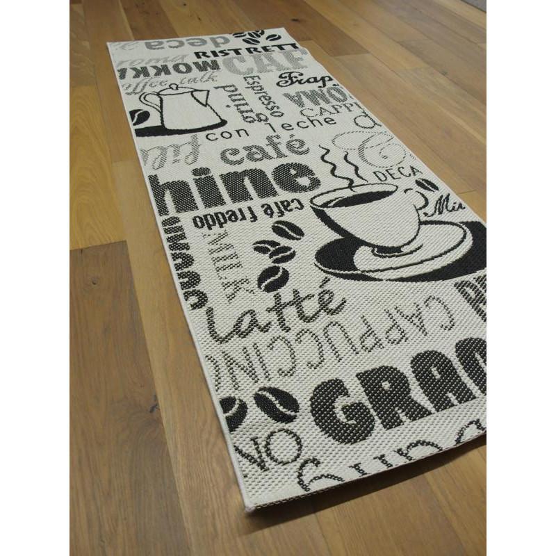 Tapis de cuisine tissé à plat. Café Noir et blanc. ESSENZA - 80x200cm.