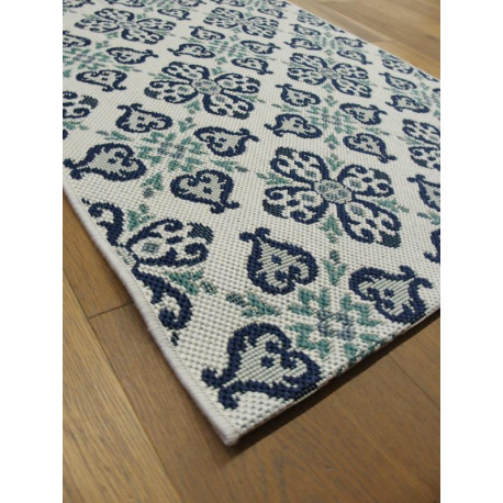 "Tapis corde long ""Cuisine Vintage carreaux de ciment bleu"" - Star BALTA 80x200"