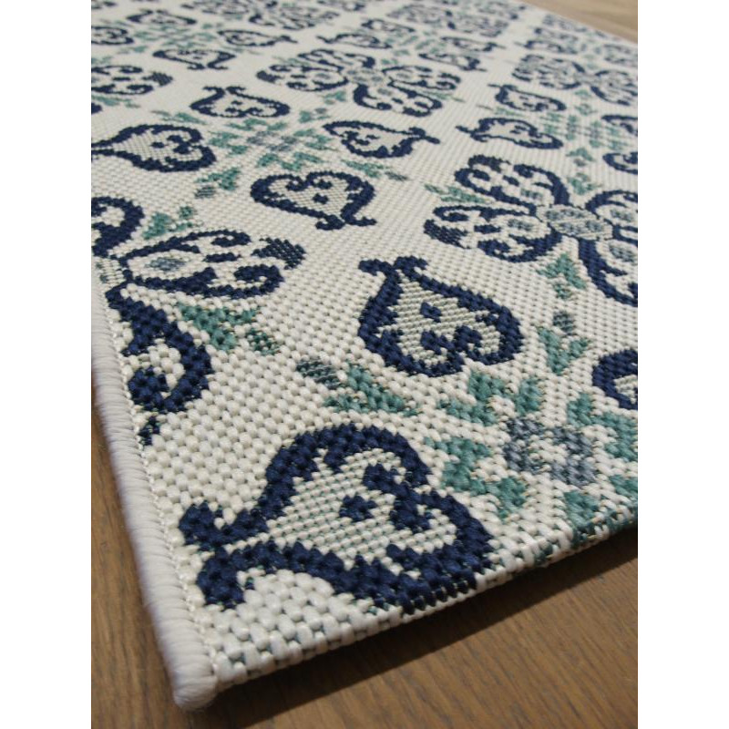 Tapis de cuisine long vintage bleu star 80x200cm for Tapis long cuisine