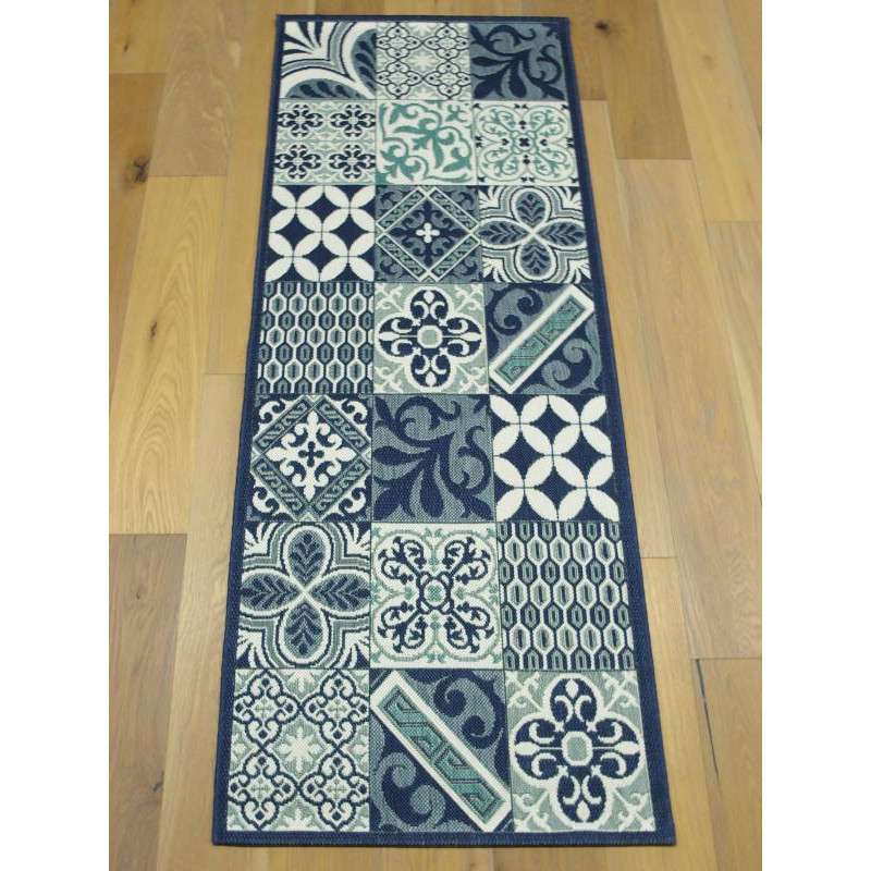 Tapis de cuisine long carreaux de ciment bleu star 80x200cm for Tapis long cuisine