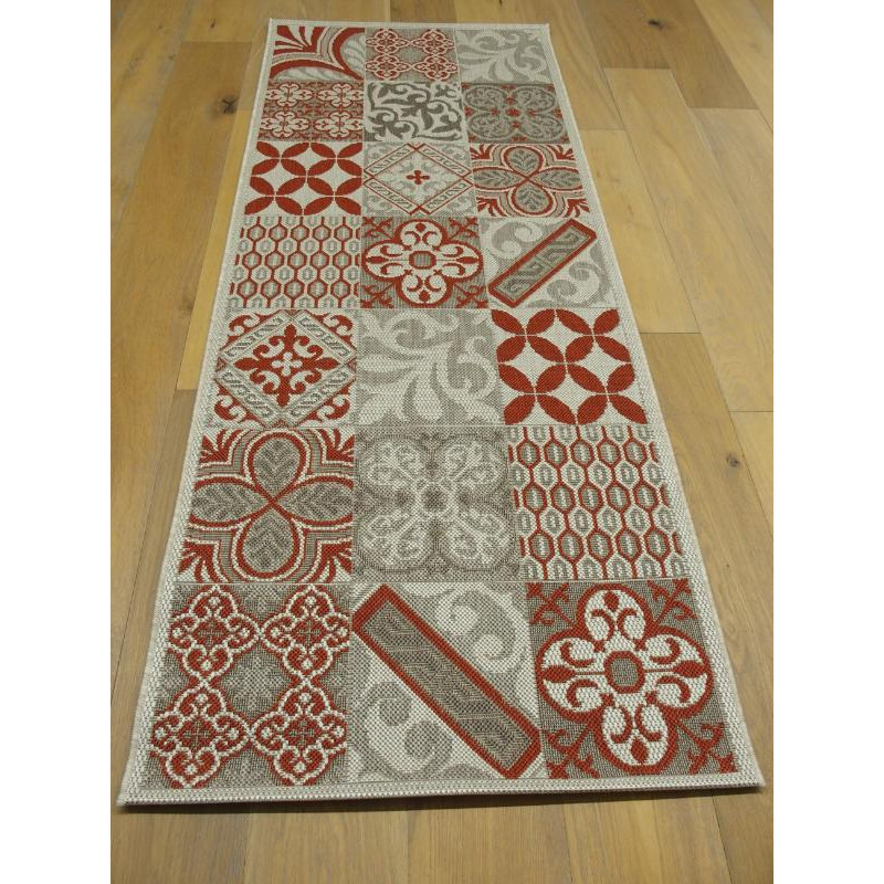 tapis de cuisine long carreaux de ciment rouge star 80x200cm. Black Bedroom Furniture Sets. Home Design Ideas
