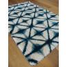 Tapis shaggy à motifs losanges bleus - EDEN COSY