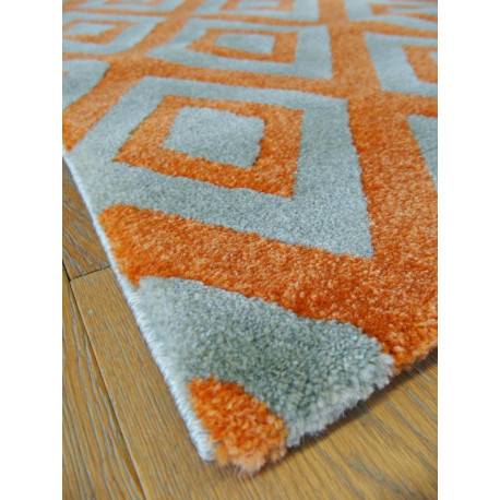 tapis losanges orange et gris optimist cosy. Black Bedroom Furniture Sets. Home Design Ideas