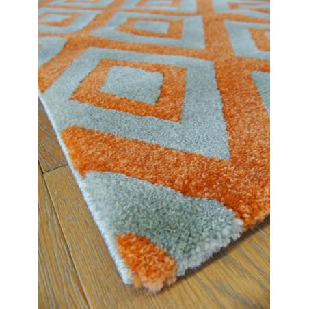 Tapis losanges orange et gris - OPTIMIST COSY