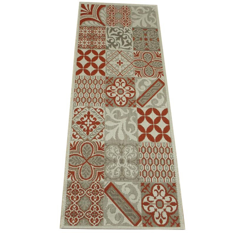 tapis de cuisine long carreaux de ciment rouge star 80x200cm
